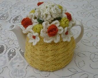 Tea Cosy Tea Cozy Teacosy Teacozy Cosie Cozy Crochet Yellow with orange flowers (Made to order)
