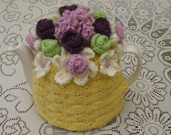 Tea Cosy Tea Cozy Teacosy Teacozy Cozy Cosy Crochet Yellow with Flower Garden Top (Made to order)