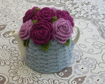 Tea Cosy Tea Cozy Teacosy Teacozy Cosy Cozy Crochet  grey with Roses (Made to order)