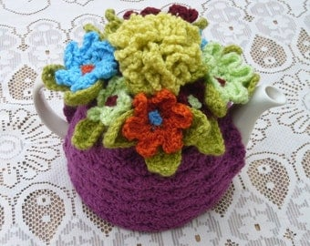 Tea Cosy Tea Cozy  Teacosy Teacozy Cosy Cozy Crochet Plum with flowers (Made to order)
