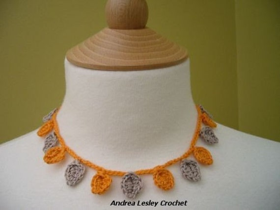 Crochet Flower Summer Necklace in Cotton in Gold and Beige (Ready to ship)