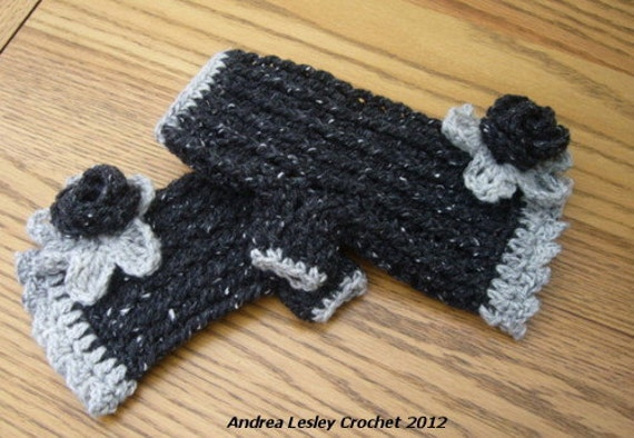 Crochet Fingerless Mittens in Black and Grey with Flower (Ready to Ship)