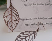 Delicate Lacy Antique Copper Leaves - Earrings