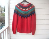 Reserved for Kathleen Vintage Southwestern Style Chunky Knit Sweater Sz S/M