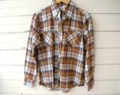 Vintage 1970s Plaid Flannel Shirt