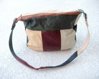 Vintage Patchwork Leather Boho Bag from Mexico