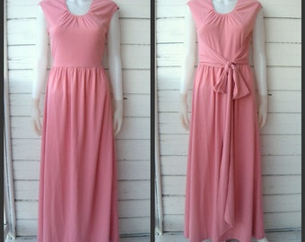 Vintage 1970s Cherry Blossom Pink Maxi Gown / Sz S-M