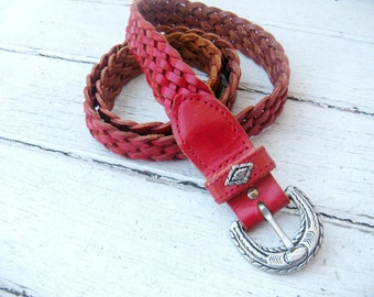 Vintage Southwestern Red Woven Leather Belt / Silver Navajo Designs