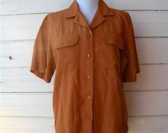 Vintage 80s Womens Rust Brown Shirt / Sz 8 Medium