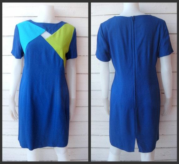 Vintage Blue Mod Colorblock Dress