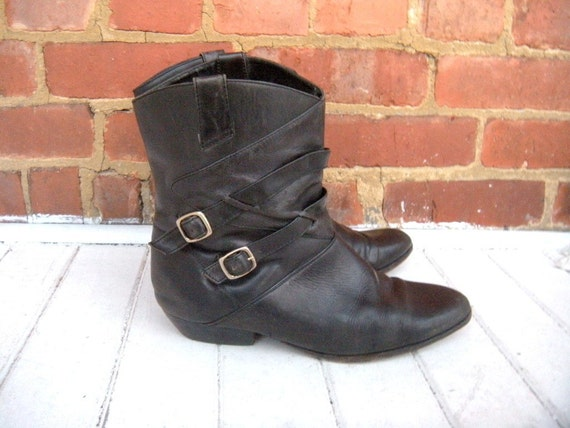 Vintage Black Leather Motorcycle Boots 9.5/10.5, Euro 41/42