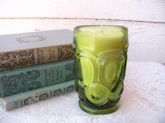Gardenia Soy Candle... Handpoured in Vintage Green Glass - Eco Friendly Upcycled
