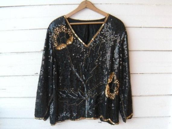Vintage 80s Black and Gold Roses Sequins Blouse / Art Deco / Sz M/L
