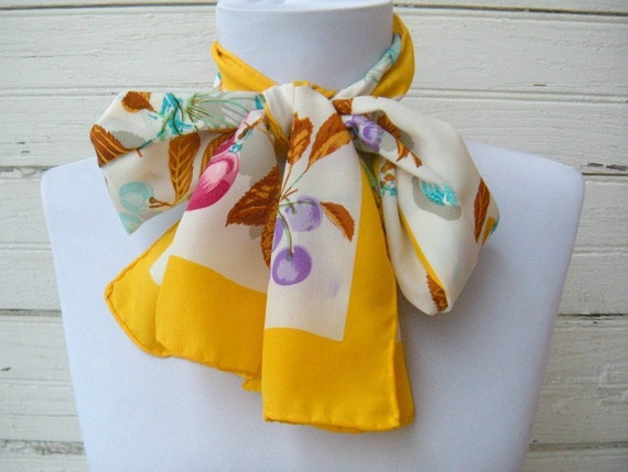 Vintage Silk Fruity Scarf