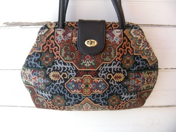 RESERVED for Anaya - Vintage 60s 70s Tapestry Carpetbag Large Purse