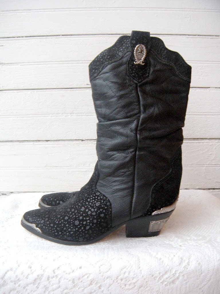 Vintage Zodiac Black Leather Cowgirl Boots Sz 8 Euro 38 5