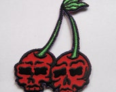 Embroidered Iron on Cherry Skull Patch