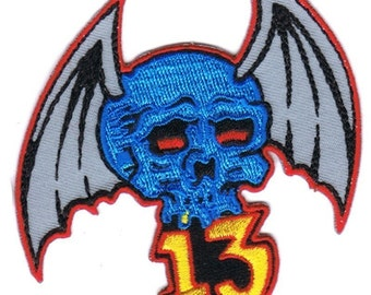 embroidered iron on skull with bat wings patch