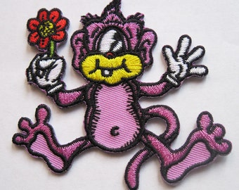 New One Eyed Monkey Embroidered Iron on Patch with Flower