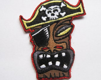 Pirate Tiki with Skull Hat iron on Patch