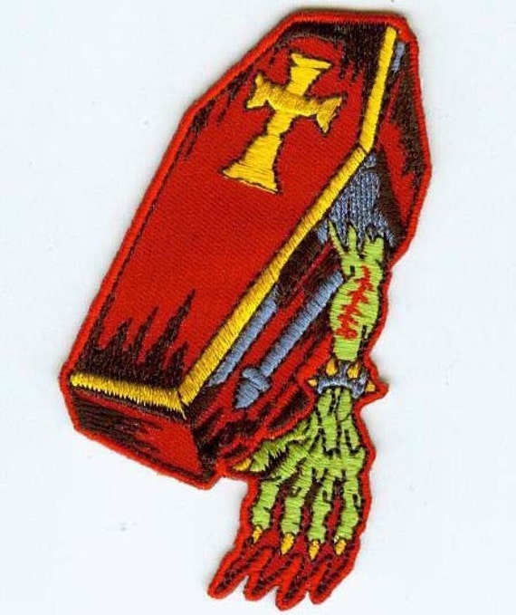 embroidered zombie coffin iron on patch