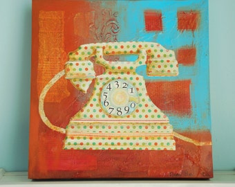 Vintage Telephone Original Painting