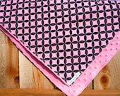Love Me Softly Minky Blankie - In Pink and Black Mod Dots