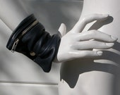 Dark Blue Leather Wrist Cuff Bag Made to Order