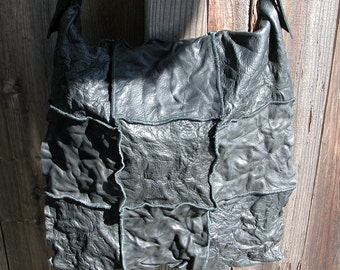 Distressed Black Leather Bag with Adjustable Strap Made to Order