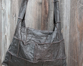 Distressed Dark Brown Leather Bag Made to Order