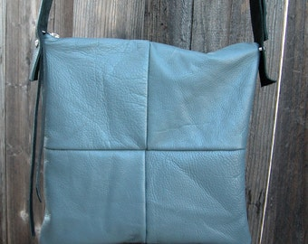 Distressed Grey Leather Bag with Black Adjustable Strap Made to Order
