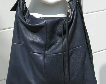Distressed Navy Blue Leather Bag with Black Adjustable Strap Made to Order