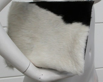 Black and White Hair on Hide and Black Leather Clutch and/or I Pad Case Made to Order
