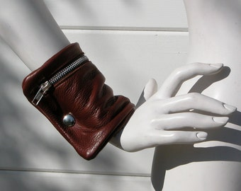 Cognac Leather Wrist Cuff Bag Made to Order