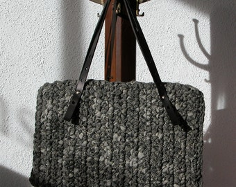 Black and White Bandana Crochet Rug Bag with Adjustable Leather Straps