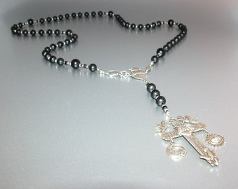 Matte Onyx Rosary with Latin American Cross (Long) (no.17)