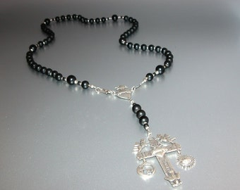 Matte Onyx Rosary with Latin American Cross (Short) (no.16)