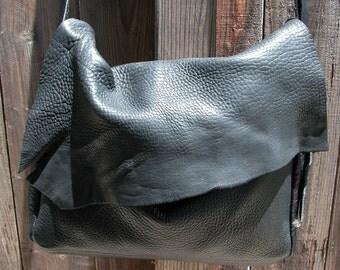 Bull Hide Minimalist Natural Edge Black Leather Bag with Adjustable Belt Buckle Strap Made to Order