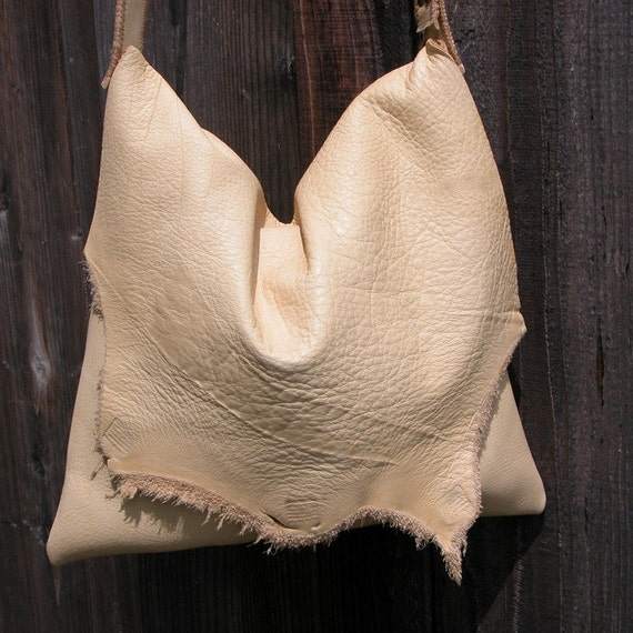 Distressed Natural Edge Palomino Leather Bag with Adjustable Strap