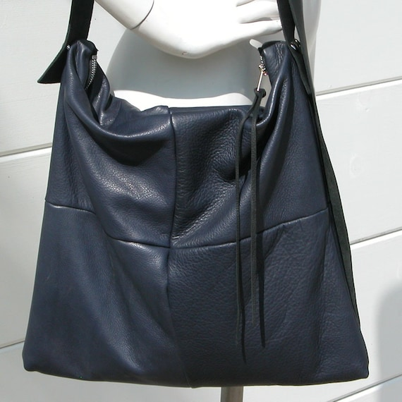 Distressed Navy Blue Leather Bag with Black Adjustable Strap Made to ...