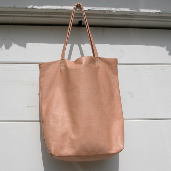 Distressed Natural Vegetable Tanned  Leather Tote Bag Made to Order