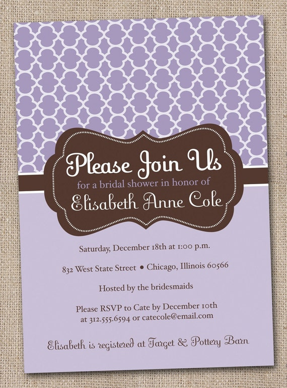 Printable Bridal Shower Invitations Purple and Brown Quatrefoil Digital Design