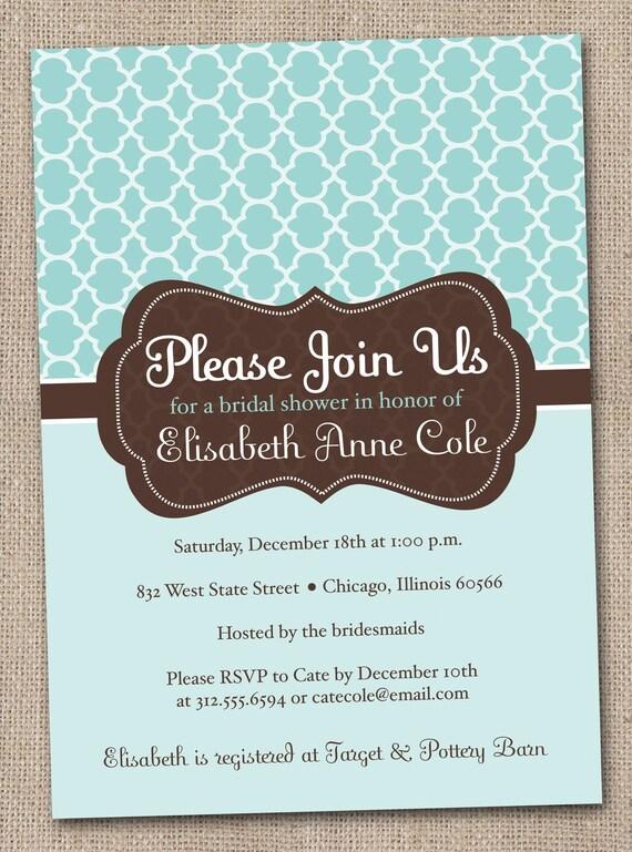 Blue and Brown Bridal Shower Invitations Printable Digital File Quatrefoil Pattern