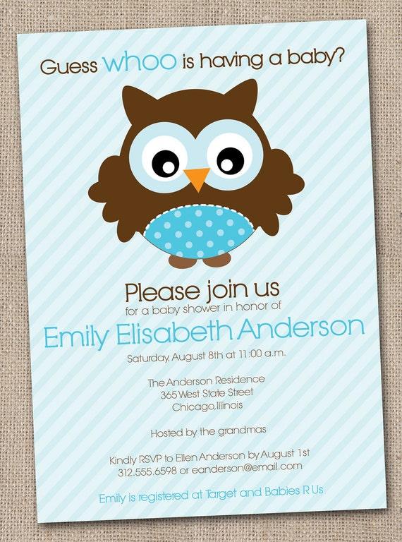 Boys baby shower invitation blue owl printable digital file for Etsy owl wedding invitations