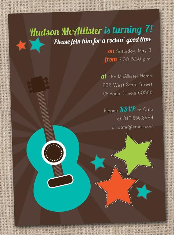 Boys Rockstar Guitar Birthday Party Invitations Printable Digital File Blue and Brown