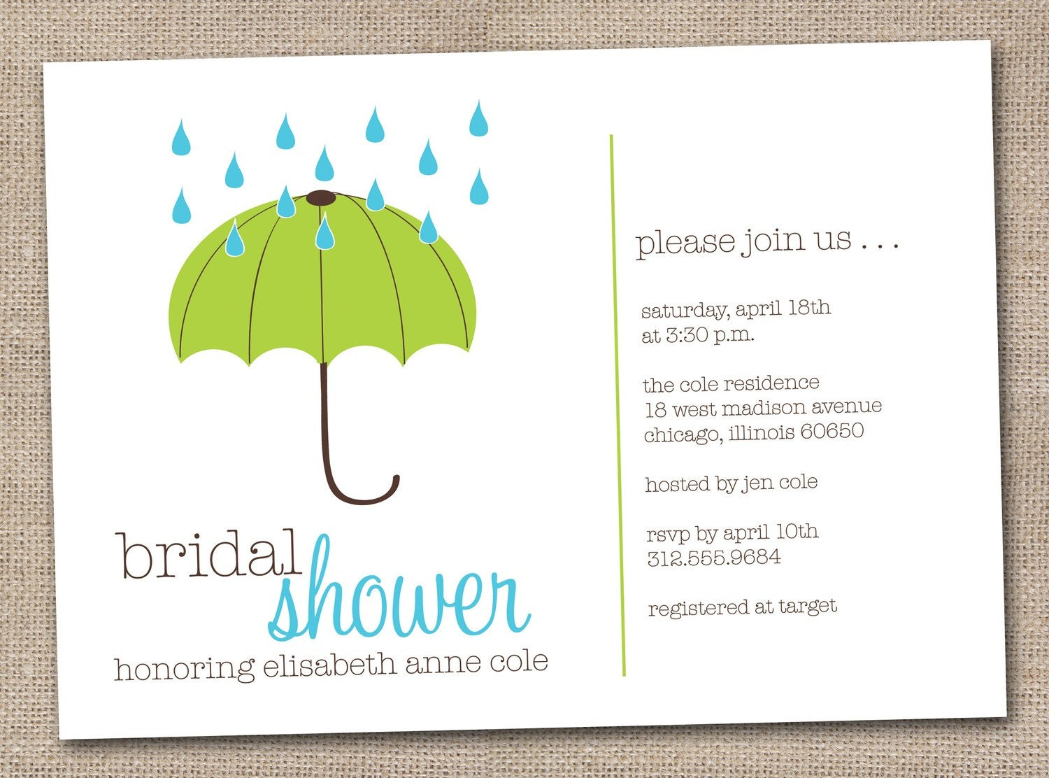 Printable Bridal Shower Invitations Green by InkObsessionDesigns