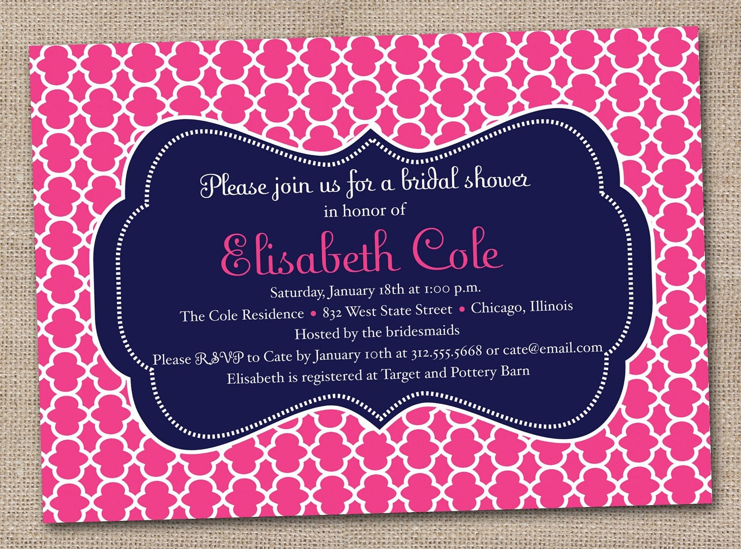 Wedding Shower Invitations Free: Printable Bridal Shower Invitations Fuchsia Pink And Navy Blue