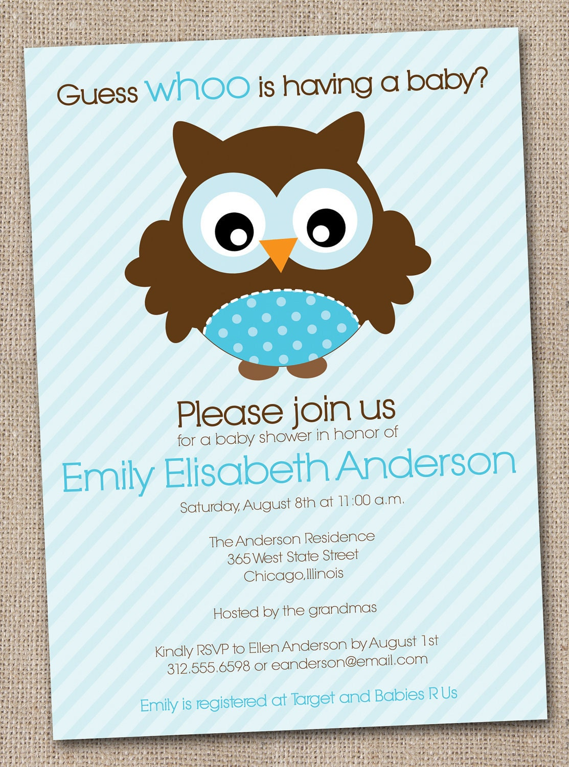 boys baby shower invitation blue owl by inkobsessiondesigns