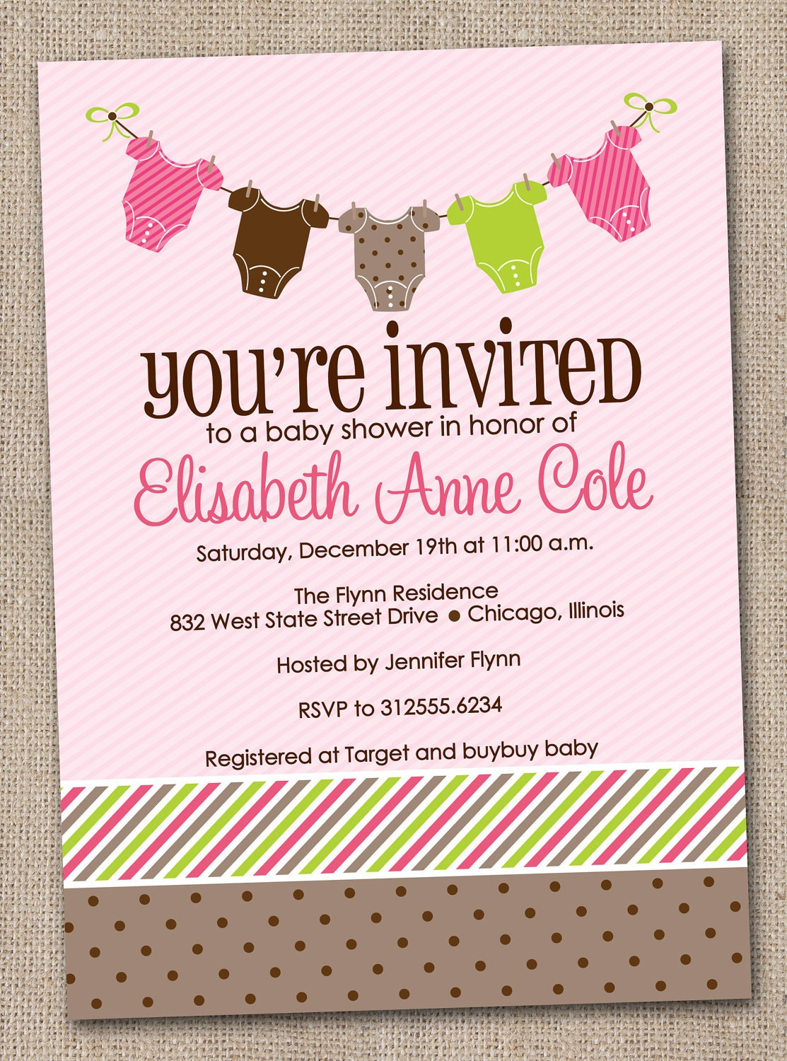 Printable baby shower invitations girl baby by inkobsessiondesigns
