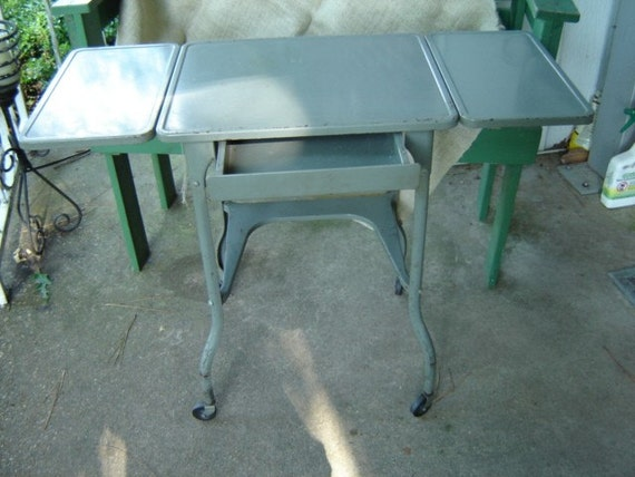 Vintage Industrial Metal Typewriter Table Drop Sides And Drawer Reserved